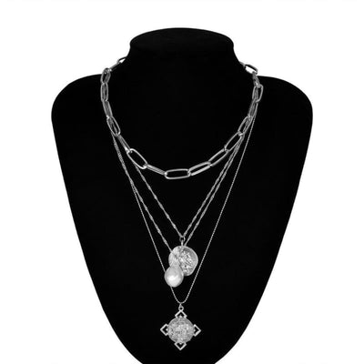 Ingemark Egyptian Rune Coin Faith Choker Necklace Statement Vintage Multi Layer Pearl Pendant Long Chain Necklaces Women Jewelry - Silver