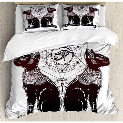 Egyptian Duvet Cover Set Vintage HDrawn Cat Figure with Sacred Geometry Shapes Tattoo Art Bedding Set Dark Purple Black White