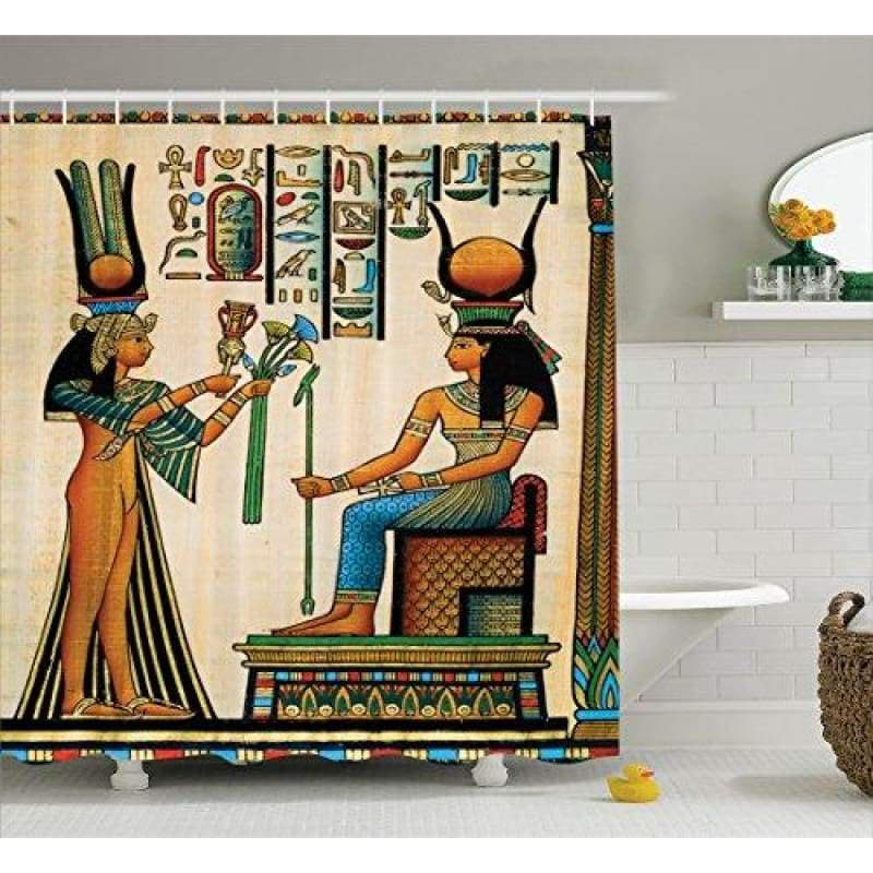 Memory Home Egyptian Shower Curtain Old Egyptian Papyrus Depicting Queen Nefertari With Historical Empire Artwork Bathroom Decor - 154006