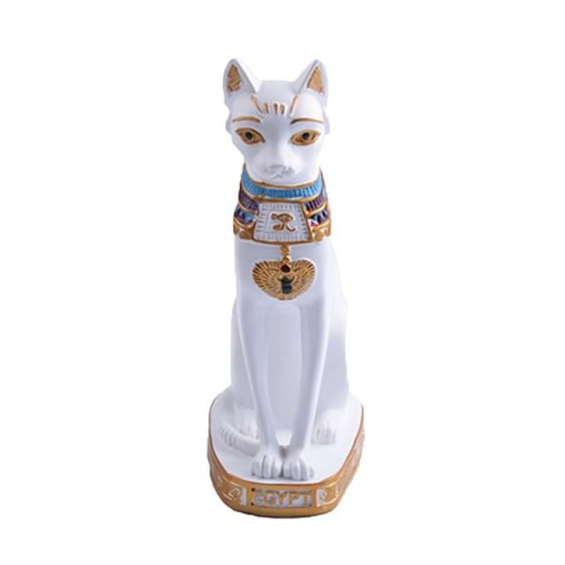 statue egyptienne : Chat - Blanc - statue egyptienne