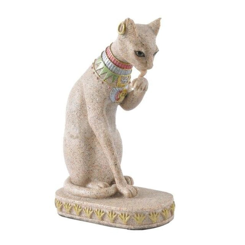 Sandstone Bastet Statue Egyptian Cat God Figurine Cat Ancient Egypt Natural Sandstone Craft Sculpture Home Desk Decor - Creamy White A