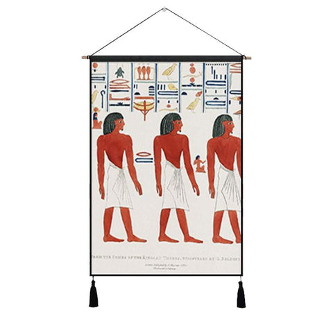 Vintage Tomb of Psammuthis Egyptian Art Hanging Cloth Cotton Line Paintings Posters Home Decor Wall Hanging Tapestry Gift - 45X65cm / White