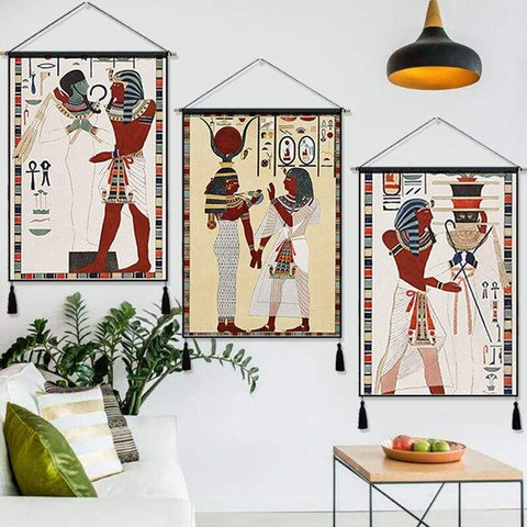 Vintage Tomb of Psammuthis Egyptian Art Hanging Cloth Cotton Line Paintings Posters Home Decor Wall Hanging Tapestry Gift - 1704