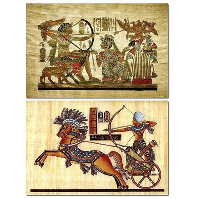 Egyptian Backdrop Antique Hieroglyphs Weapons Queen Pay Tribute Ancient Elements of Egypt Canvas Painting Wall Art Décor - 10x15cm No Frame