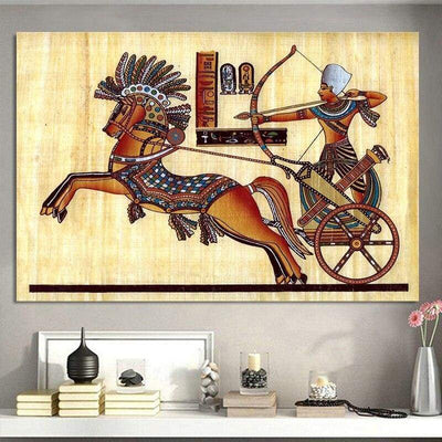 Egyptian Backdrop Antique Hieroglyphs Weapons Queen Pay Tribute Ancient Elements of Egypt Canvas Painting Wall Art Décor - 1704