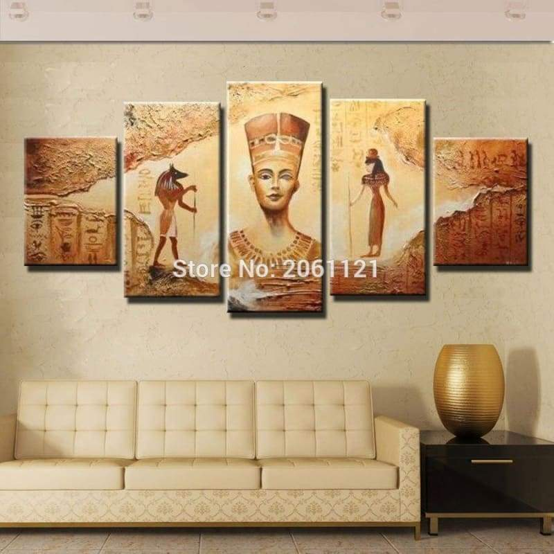 Hand painted canvas oil Paintings 5 Panels Abstract Decorative Wall Art Egyptian Pharaoh Picture For Living Room - 1704