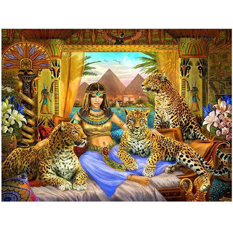 Leopard Egyptian beauty 5d diamond embroidery square round diamond painting queen cross stitch mosaic diamond picture art - 200003953
