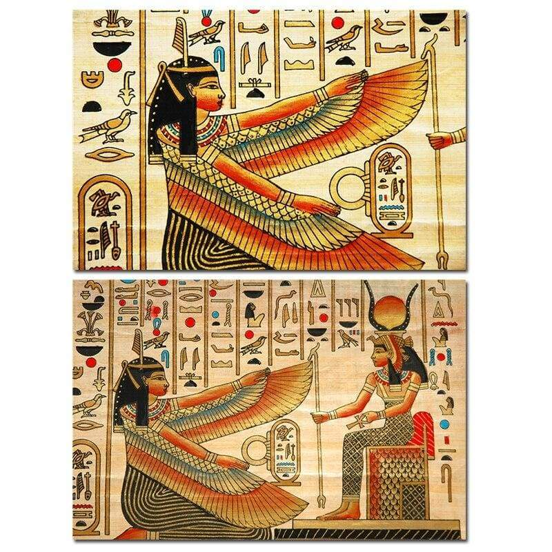 Design with Elements of Ancient Egyptian History Illustration Pattern Posters and Print Canvas Wall Art Home Decorative - 10x15cm No Frame /