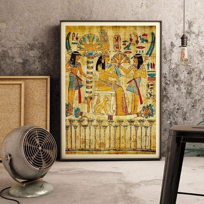 Egypt Wall Art Canvas Poster Parchment Paper Style Old Antique Poster Prints Retro Egyptian Picture Wall Decor King Tut Queen - 1704