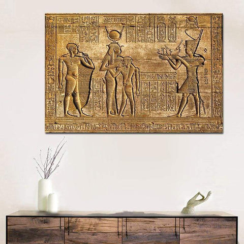 Egyptian Hieroglyphs Fresco Canvas Painting Queen Hatshepsut Temple Stone Carving Pharaoh Ancient Egypt Wall Mural Poster Print - 1704