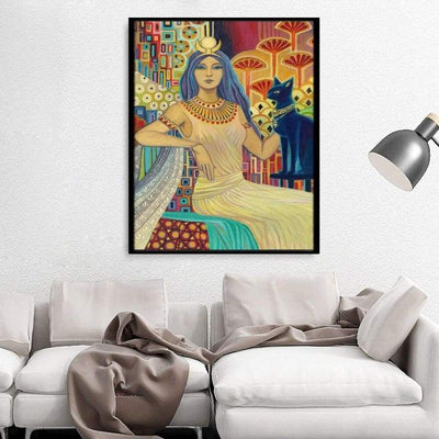 Bast Egyptian Cat Goddess Art Deco Poster Print Pagan Mythology Psychedelic Gypsy Goddess Art - 1704