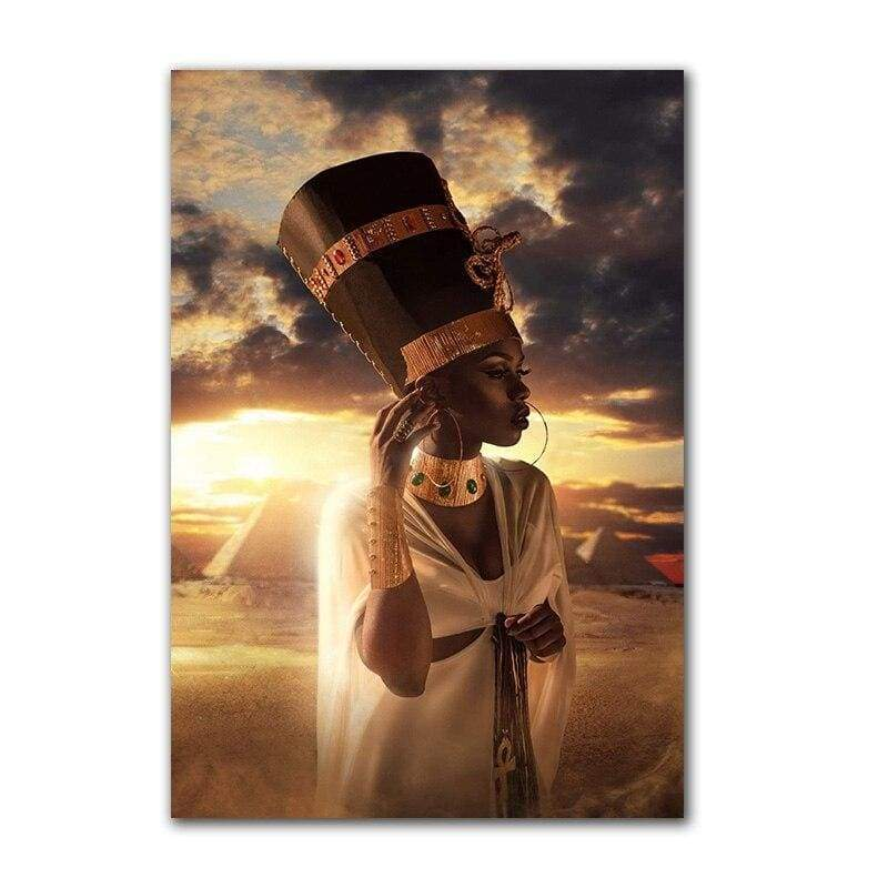 African Woman Egyptian Pharaoh Headband Portrait Canvas Painting Poster and Prints Scandinavian Wall Art Picture for Living Room - 1704