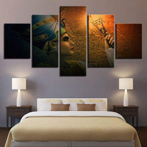 Retro Modern Ancient Egyptian Murals Oil Painting Home Decor Queens of Egypt Wall Pictures Canvas Artwork For Living Room - 1704