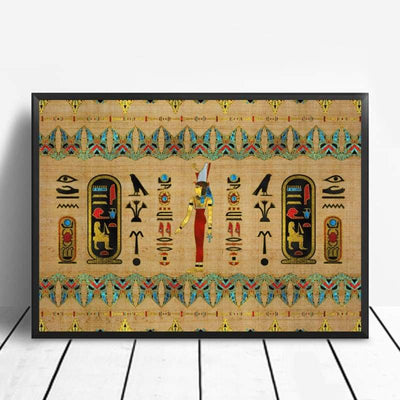 Abstract Egyptian Ornaments on Papyrus Egypt Goddess Eye Art Poster Art Canvas Poster Wall Picture for Living Room - 1704