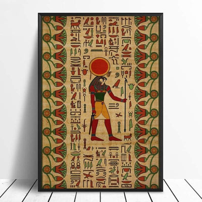 Abstract Egyptian Ornaments on Papyrus Egypt Goddess Eye Art Poster Art Canvas Poster Wall Picture for Living Room - 20x30cm / 11 - 1704