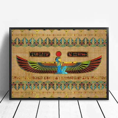 Abstract Egyptian Ornaments on Papyrus Egypt Goddess Eye Art Poster Art Canvas Poster Wall Picture for Living Room - 20x30cm / 2 - 1704