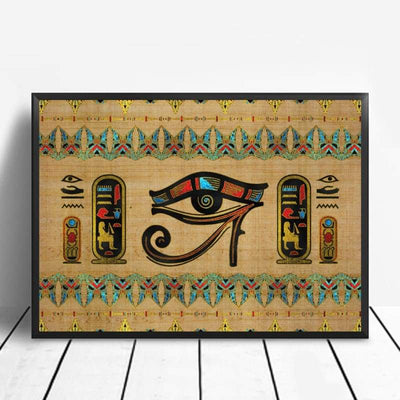 Abstract Egyptian Ornaments on Papyrus Egypt Goddess Eye Art Poster Art Canvas Poster Wall Picture for Living Room - 20x30cm / 5 - 1704
