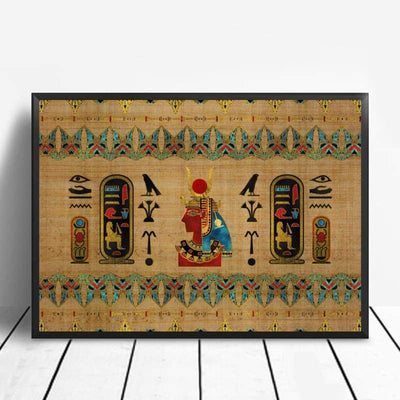 Abstract Egyptian Ornaments on Papyrus Egypt Goddess Eye Art Poster Art Canvas Poster Wall Picture for Living Room - 20x30cm / 6 - 1704
