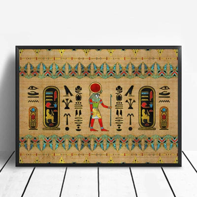 Abstract Egyptian Ornaments on Papyrus Egypt Goddess Eye Art Poster Art Canvas Poster Wall Picture for Living Room - 20x30cm / 7 - 1704