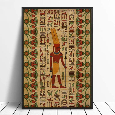 Abstract Egyptian Ornaments on Papyrus Egypt Goddess Eye Art Poster Art Canvas Poster Wall Picture for Living Room - 20x30cm / 8 - 1704