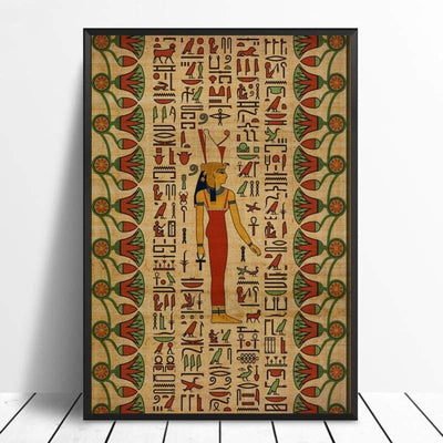 Abstract Egyptian Ornaments on Papyrus Egypt Goddess Eye Art Poster Art Canvas Poster Wall Picture for Living Room - 20x30cm / 9 - 1704