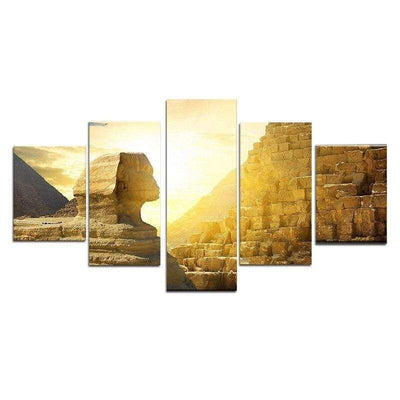 Dropship 5-piece Of Decorative Painting Of Sphinx Wall Art Canvas Posters And Prints Canvas Painting Art Egyptian Pharaoh - 1704