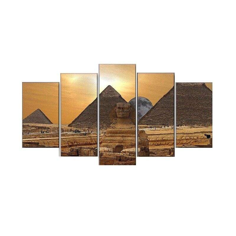 Dropship Mural Decorative Paintings Five Couplets Of Egyptian Pyramids Cuadros Decoracion Salon - 1704