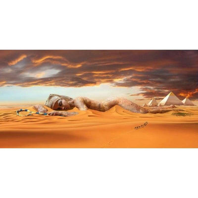 Abstract Landscape Posters and Prints Wall Art Canvas Painting Egyptian Desert Pyramid Pictures for Living Room Home Decoration - 20x40cm No
