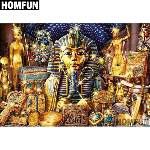 HOMFUN Full Square/Round Drill 5D DIY Diamond Painting Egyptian Pharaoh Embroidery Cross Stitch 5D Home Decor Gift A04131 - 200003953