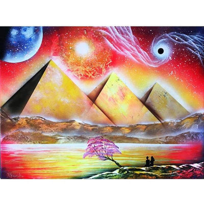 Diamond Painting Magic pyramids eye Rhinestones Mosaic 5D DIY Square/Round Embroidery Full Display Home Decor Egyptian art - Round / 30x40cm