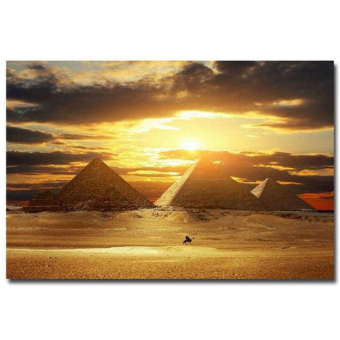 NICOLESHENTING Sunset - Egyptian Pyramids Art Silk Fabric Poster Print Desert Landscape Wall Pictures Living Room Decor 006 - 1704