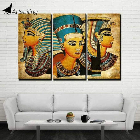 ArtSailing 3 Panel Canvas wall art canvas Egyptian Pharaoh Posters and Prints Vintage picture for living room home decor F2362 - 1704