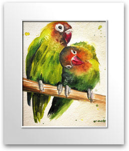 Green Lovebirds 💚💚 (signed limited edition print)
