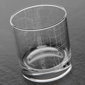 Indianapolis Map Whiskey Glass