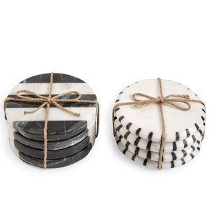 Black & White Marble Coasters, Set of 4