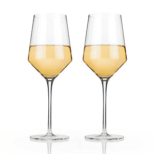 Raye Crystal Wine Glasses - Red and White, Set of 2