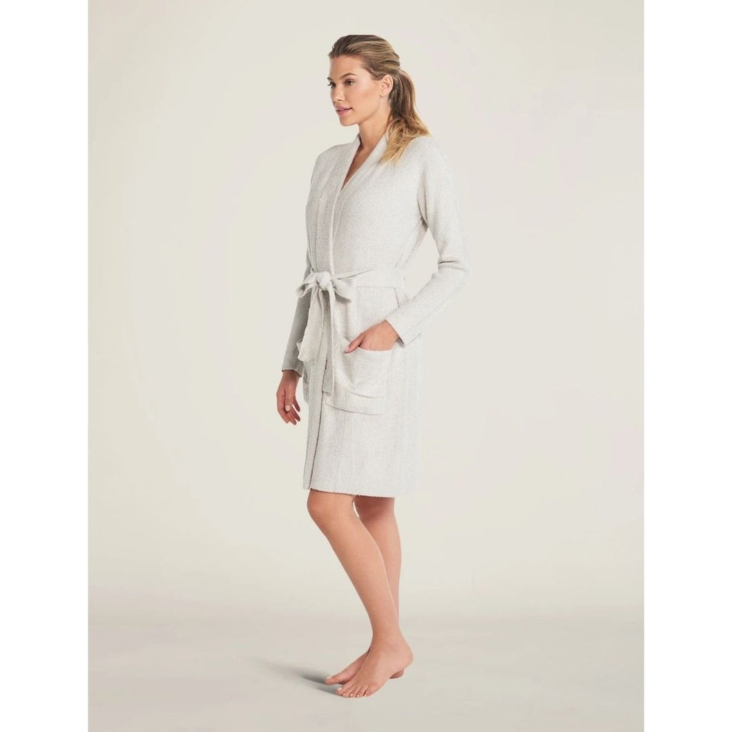 Heathered Ribbed Robe - Silver/Pearl