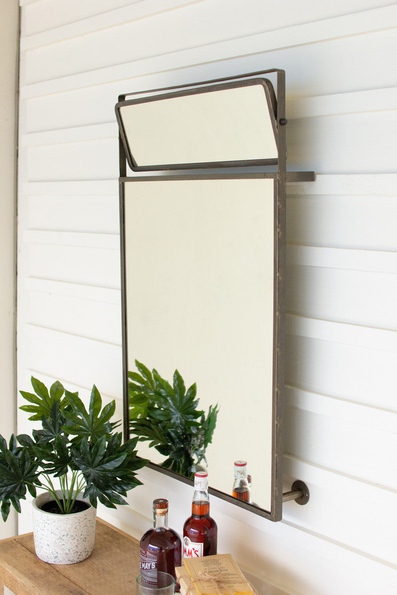 Metal Framed Wall Mirror with Top Rotating Mirror