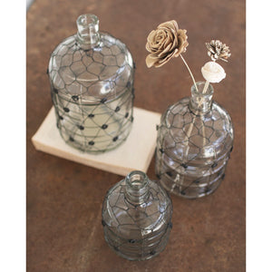 Wire-wrapped Clear Vases, Set of 3