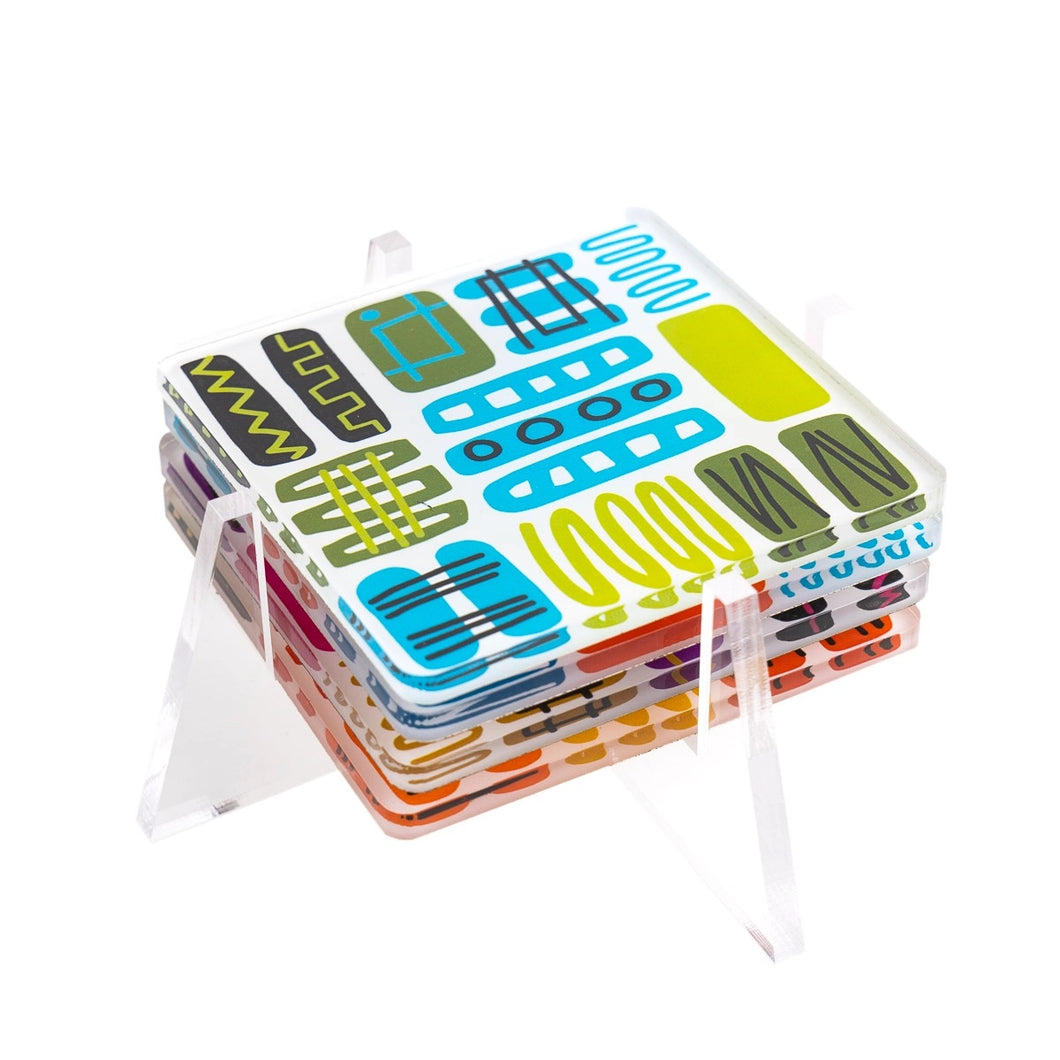 Mambo Acrylic Coaster Set with Stand
