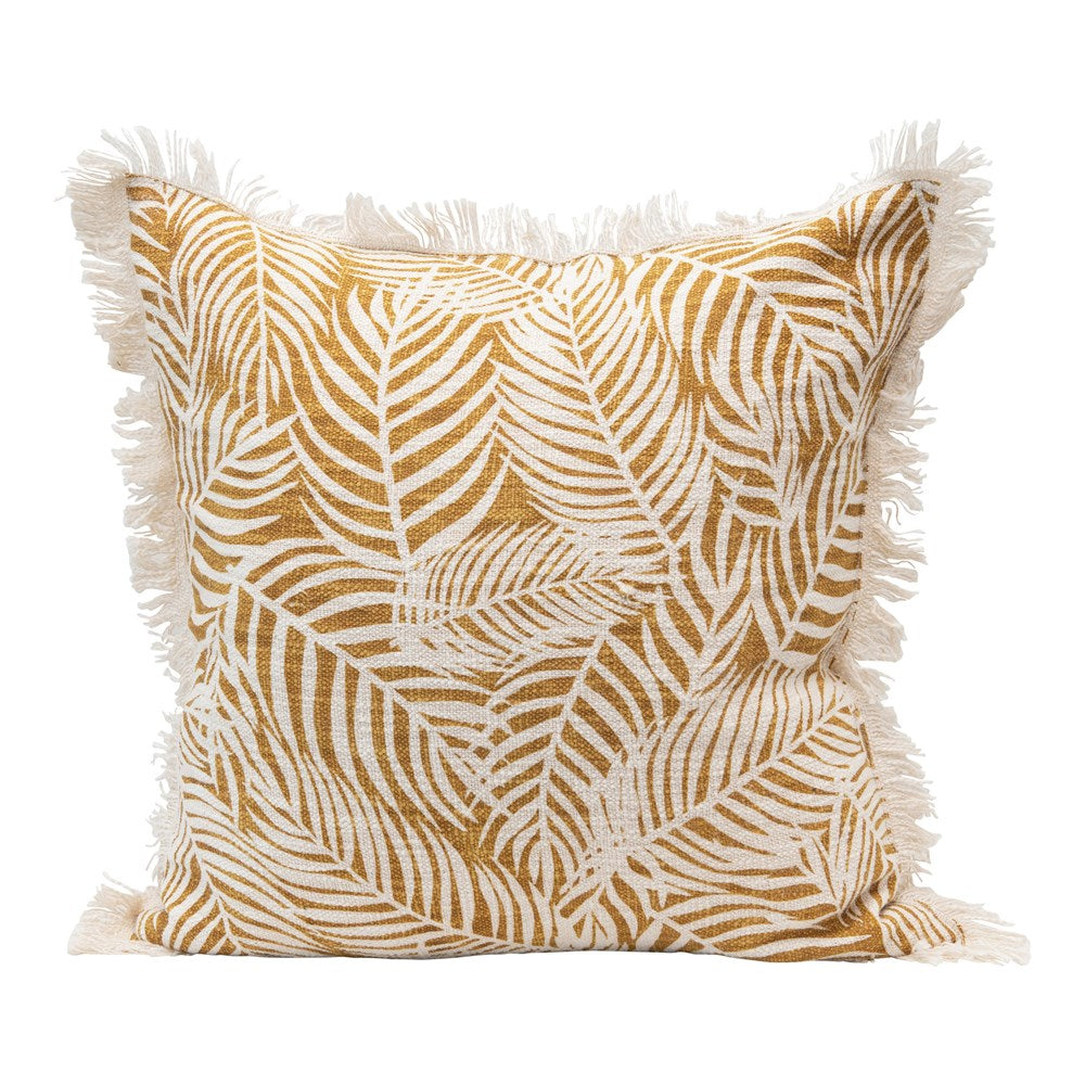 Cotton Slub Palm Frond Pillow