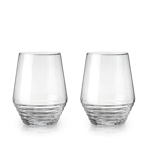 Deco Stemless Wine Glasses, Set of 2
