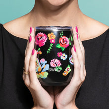 Load image into Gallery viewer, Fleur Noir Stemless Wine Glass