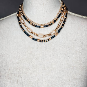 Rhett Necklace - Black and Taupe