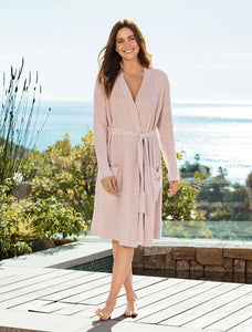 Heathered Ribbed Robe - Faded Rose/Pearl