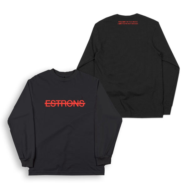 ESTRONS LOGO L/SLEEVED BLACK T-SHIRT