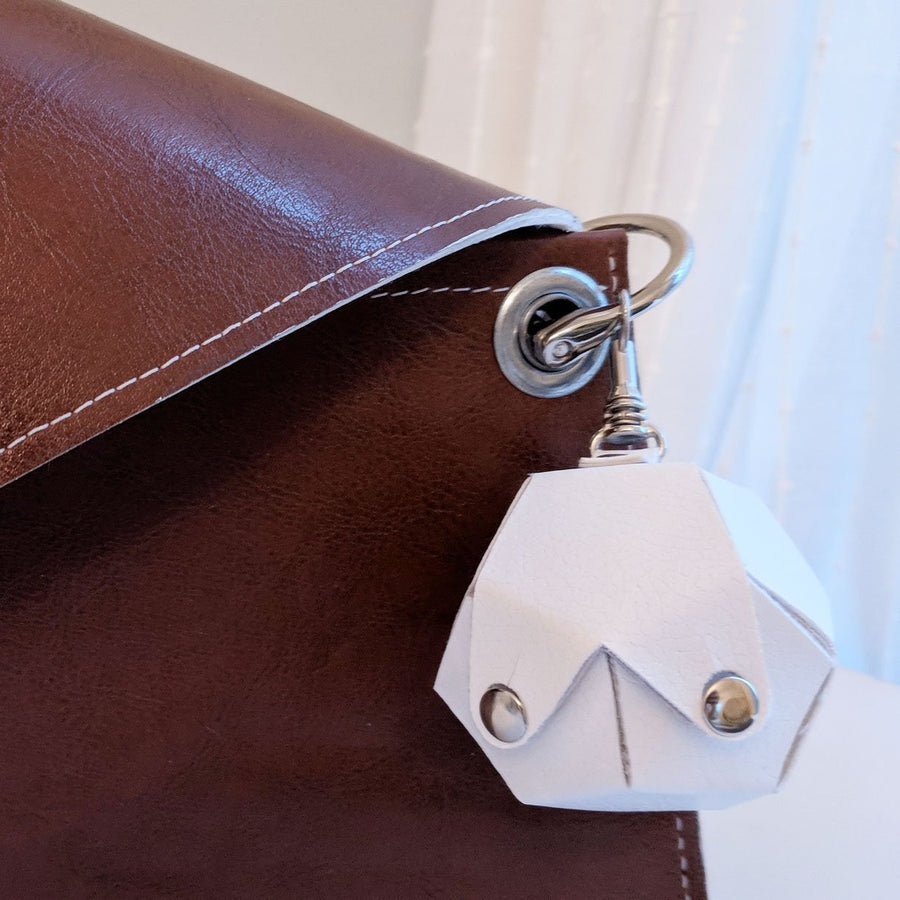 Dodecahedron Bag Charm - White