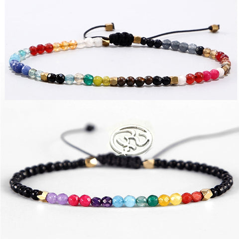12 Constellation Lucky Stone Beads Simple Bracelet 3mm Beads Adjustable Bohemia Buddhism Women 7 Chakra Bracelets