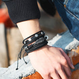 Vintage Multiple Charm Bracelets Set For Men Woman Fashion Wristbands Owl Leaf Leather Bracelet