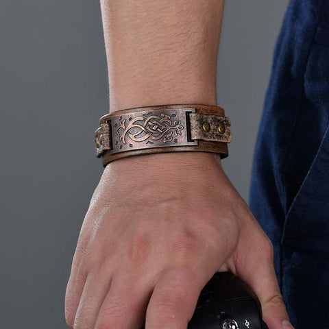 Gothic Vintage Antique Bronze Carved Flower Pattern Wristband Bangles Punk Ethnic Men Cool Brown Leather Wide Bracelets